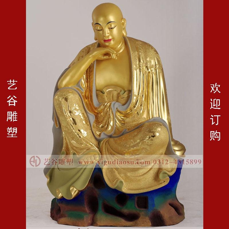 铜雕沉思罗汉雕塑-铜雕佛像雕塑-曲阳县艺谷园林雕塑